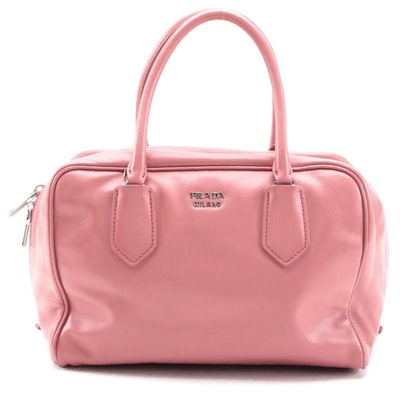 Prada Bauletto Pink Calf Leather Two-Way Top Handle Bag