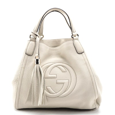 Gucci Soho Small Off-White Grained Leather Two-Way Handbag with Tassel