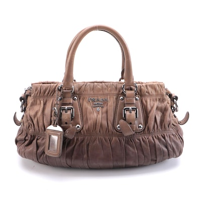 Prada Gathered Two-Way Satchel in Brown Ombre Nappa Gafre Leather