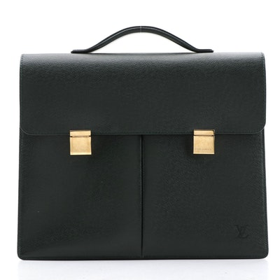 Louis Vuitton Serviette Khazan Briefcase in Dark Green Taïga Leather