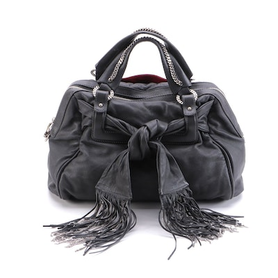Christian Louboutin Fiocchito Chain-Fringe Two-Way Satchel in Dark Grey Leather