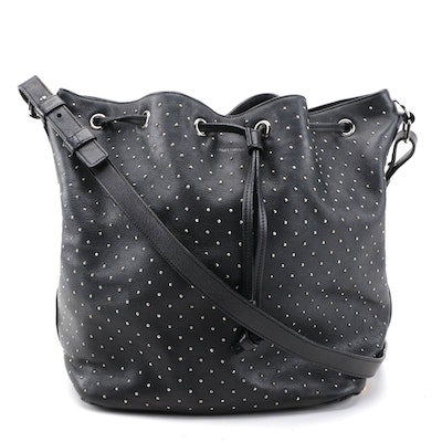 Modified Saint Laurent Emmanuelle  Leather Bucket Bag in Studded Black Leather