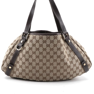 Gucci Abbey Hobo Bag in GG Canvas and Grained Brown Leather