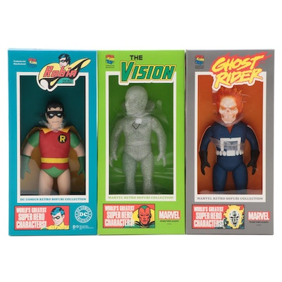 Marvel and DC Retro Sofubi Collection Ghost Rider, Robin and The Vision