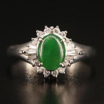 Platinum Jadeite and Diamond Ring