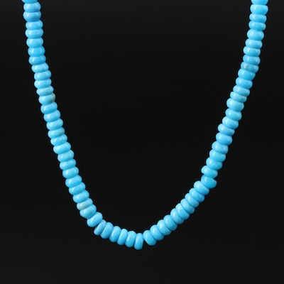 Turquoise Beaded Necklace with 14K Diamond Accented Clasp