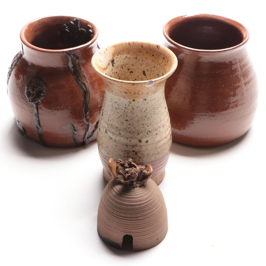 Thomas Reece Stoneware with Other Art Pottery Vases and Bee Skep, Late 20th C.