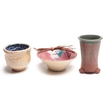 Signed Pottery Vase, Bowl and Artisan Glazed Pot