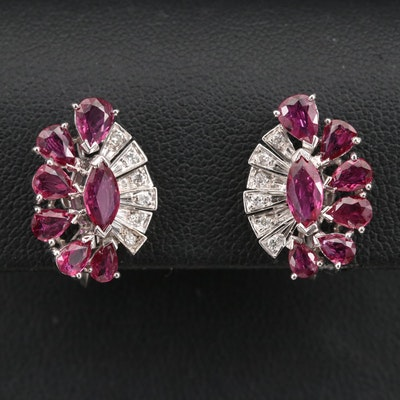 14K Ruby and Diamond Screw Back Earrings