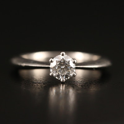 Platinum 0.31 CT Diamond Solitaire with Knife Edge Shoulders