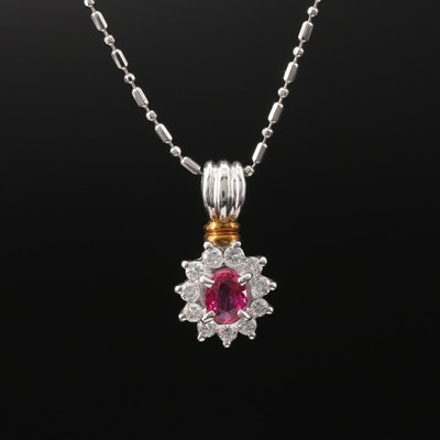 Platinum Ruby and Diamond Pendant Necklace with 18K Accent