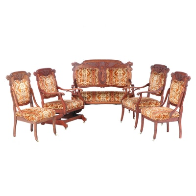Five-Piece American Birch Parlor Suite, circa 1900