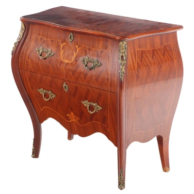 Louis XV Style Gilt Metal-Mounted Marquetry Bombé Bedside Commode