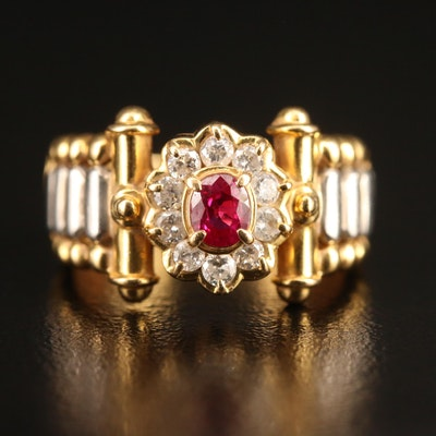 18K Ruby and Diamond Ring with Platinum Accents