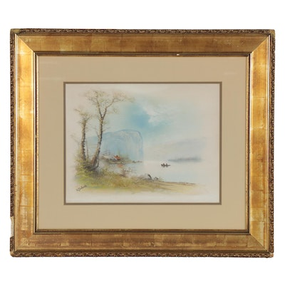 Landscape Pastel Drawing of Lake Scene