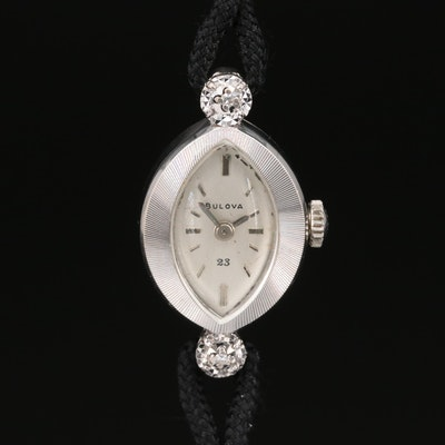 Bulova 14K Diamond Stem Wind Wristwatch