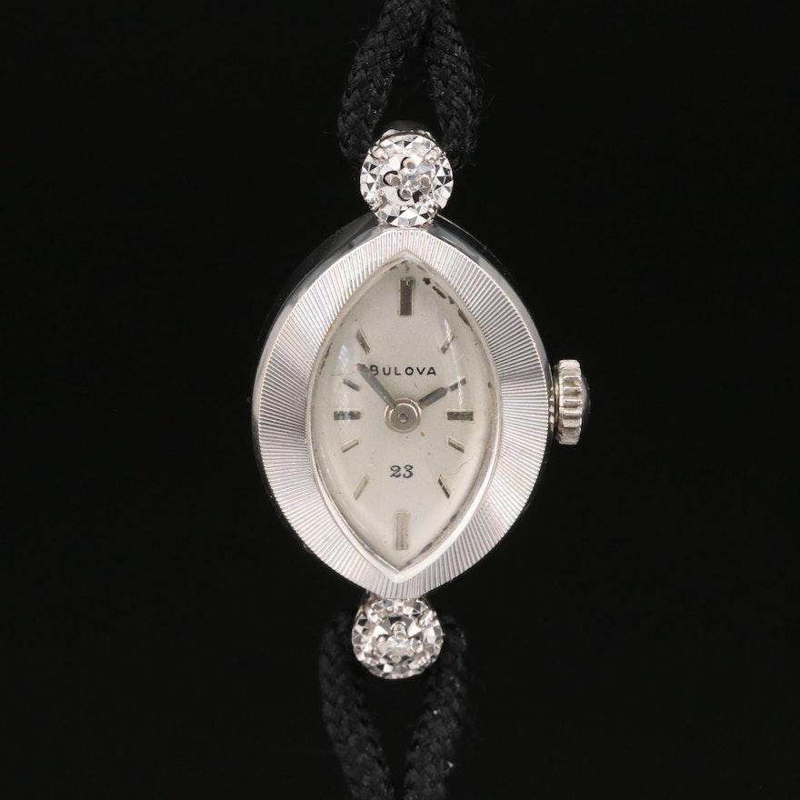 Bulova 14K Diamond Stem Wind Wristwatch