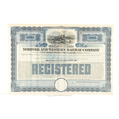 "Norfolk and Western Railroad Company ""5000 Shares"" Stock Certificate, 1919"