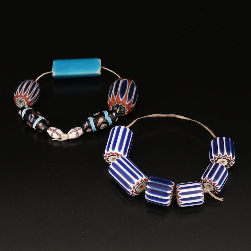 Six Layer Glass and Wedding Cake Glass Beaded Bracelets