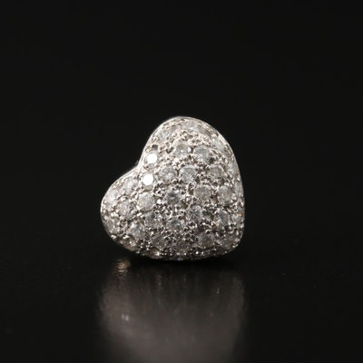 Platinum Diamond Cluster Heart Slide Pendant