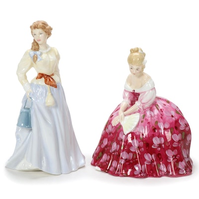 "Royal Doulton ""Victoria"" and ""Fair Maid"" Porcelain Figurines"