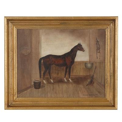 "Caroline Marano Oil Portrait ""Race Horse 'Lexington',"" 1976"