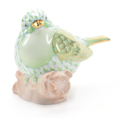"Herend Key Lime Fishnet with Gold ""Little Bird"" Porcelain Figurine"