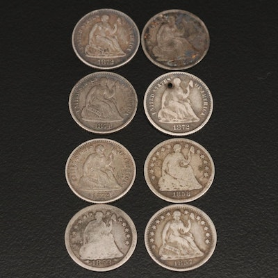 Eight Liberty Seated Silver Half Dimes
