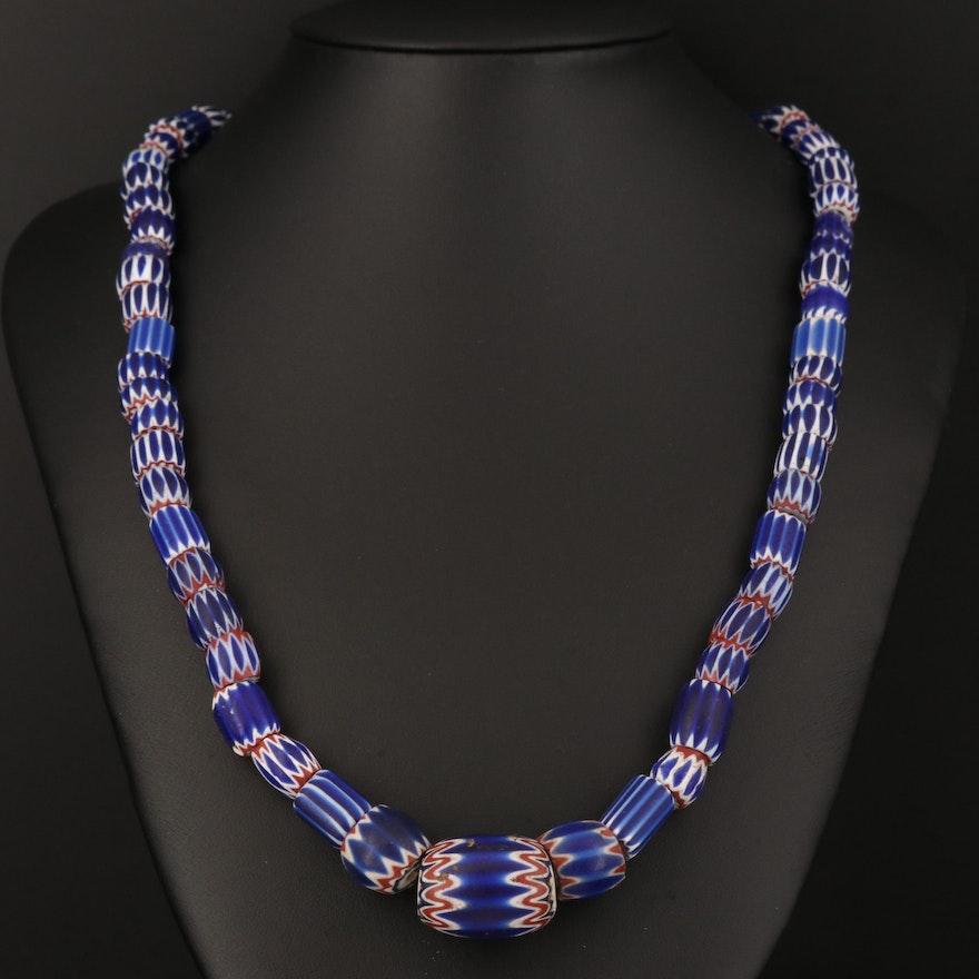 Venetian Chevron Trade Bead Necklace