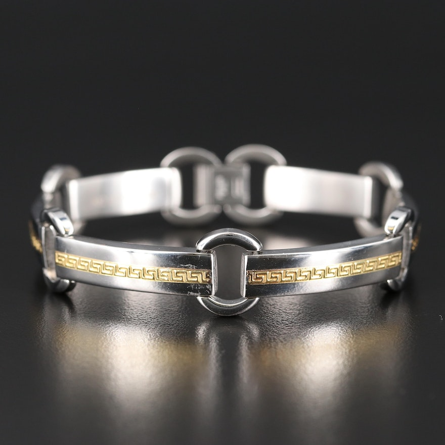 Stainless Steel Panel Bracelet with 18K Greek Key Accents