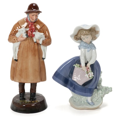 "Lladró ""Pretty Pickings"" and Royal Doulton ""Lambing Time"" Porcelain Figurines"