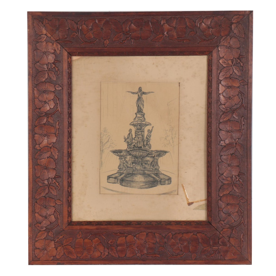 Charcoal Drawing of Fountain in Cincinnati Art-Carved Frame
