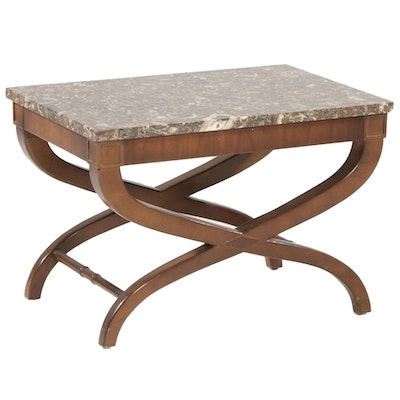 Directoire Style X-Base and Fossil Marble Top Side Table
