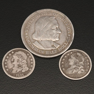 Two Capped Bust Silver Dimes and 1893 Columbian Exposition Silver Half Dollar
