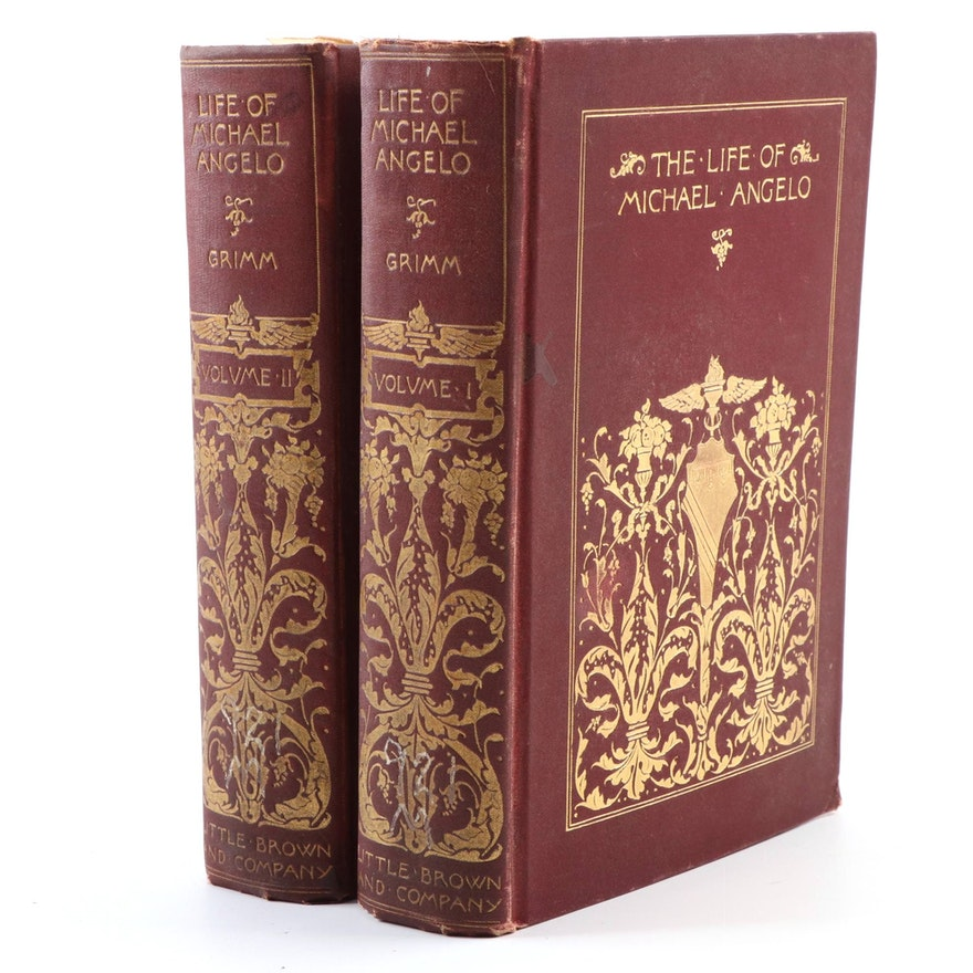 """Life of Michael Angelo"" Two-Volume Set by Herman Grimm, 1909"