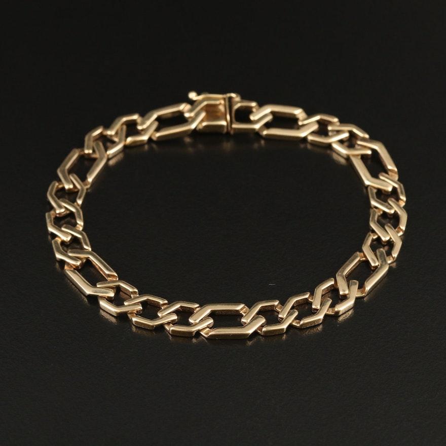 14K Stylized Figaro Bracelet