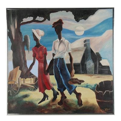 Alice Gatewood Waddell Oil Painting after Thomas Hart Benton