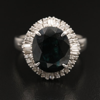 Platinum 4.90 CT Sapphire and Diamond Ring