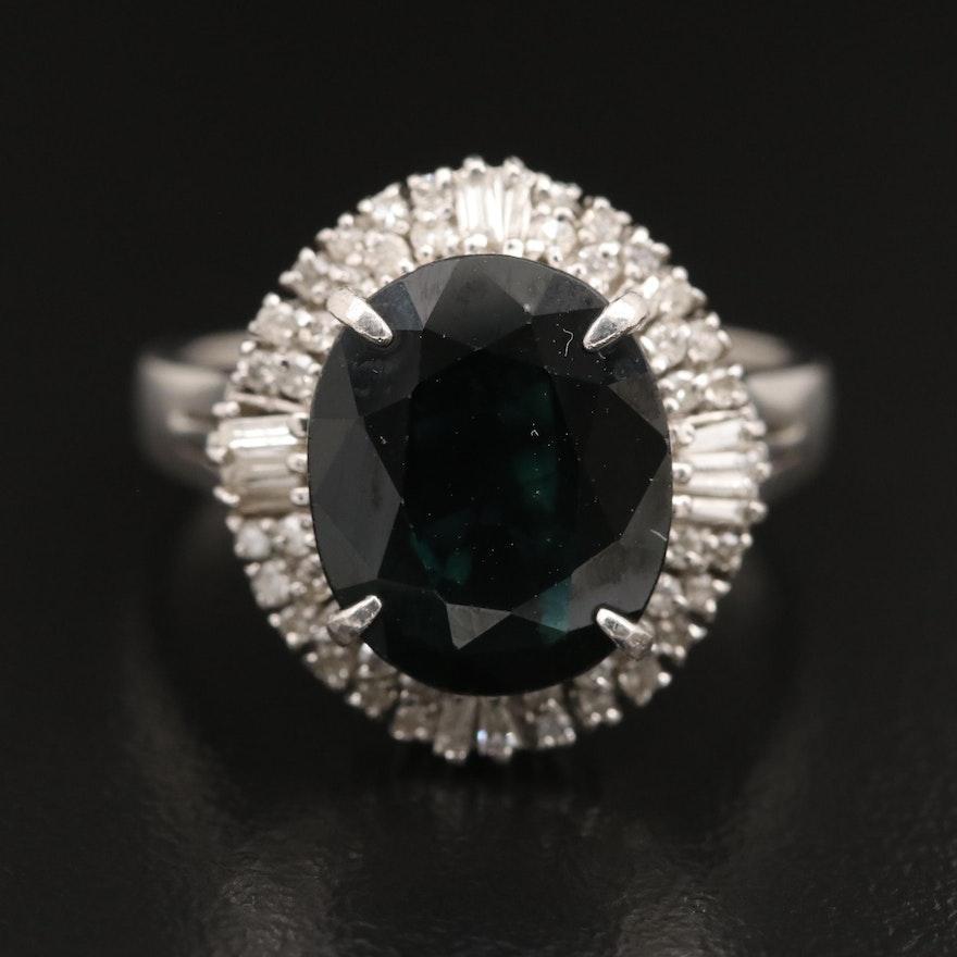 Platinum 4.90 CT Sapphire and Diamond Ring
