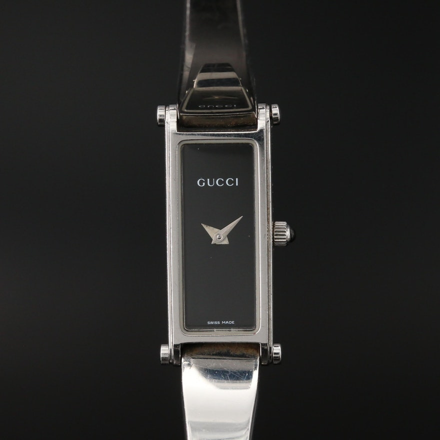 Gucci Stainless Steel Bangle Bracelet Quartz Wristwatch