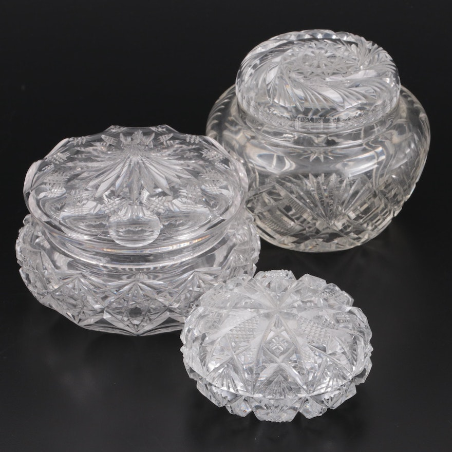 American Brilliant Cut Glass Dresser Jars, Early to Mid 20th Century