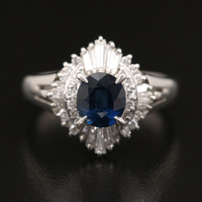 Platinum 1.04 CT Sapphire and Diamond Ring