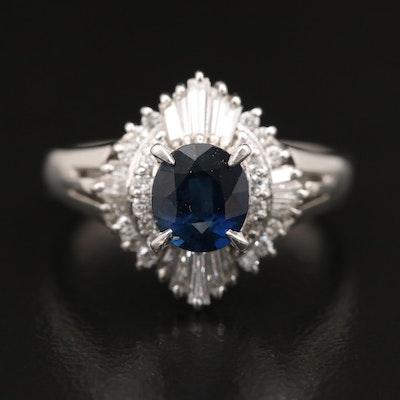 Platinum 1.04 CT Sapphire and Diamond Ring