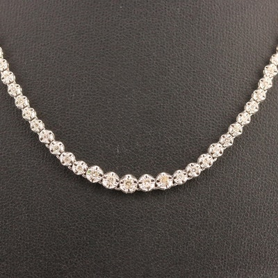 Platinum Illusion Set 2.04 CTW Graduated Diamond Necklace