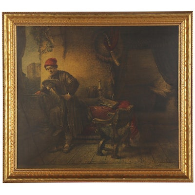 """Collotype after Rembrandt van Rijn """"The Student,"""" Mid-20th Century"""