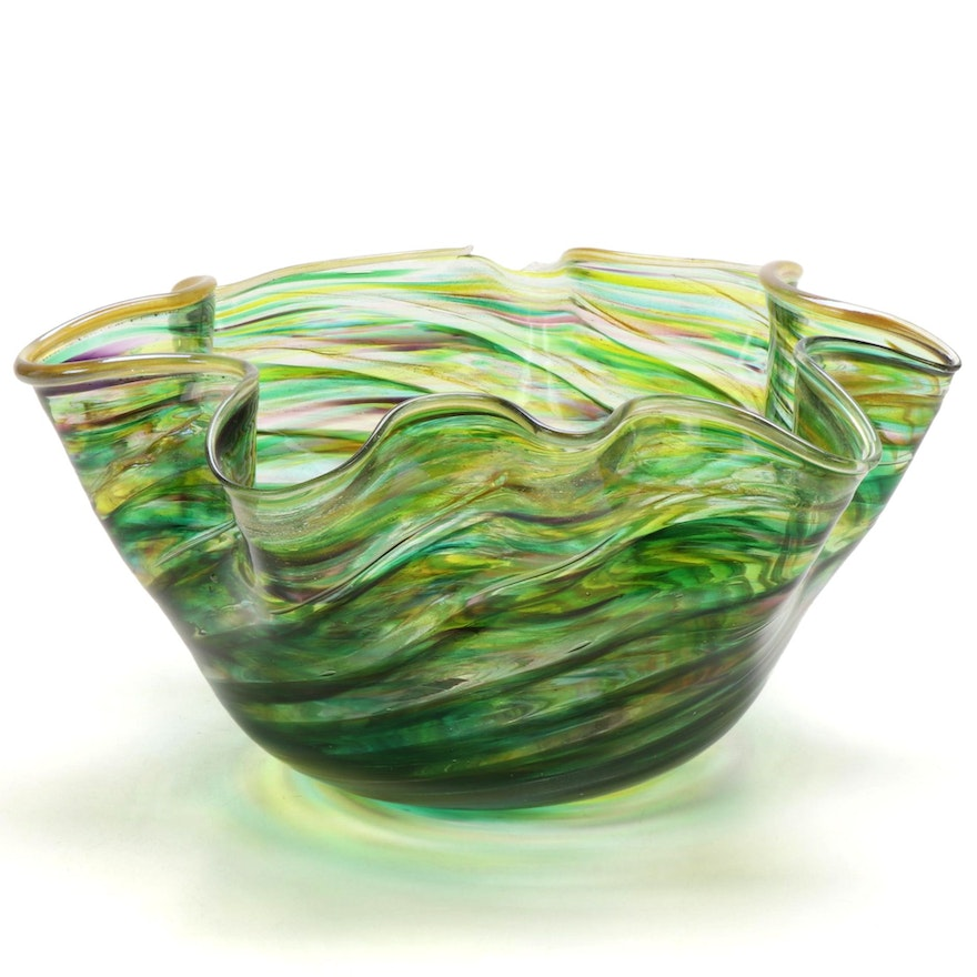Handblown Art Glass Ruffled Rim Bowl, 1991