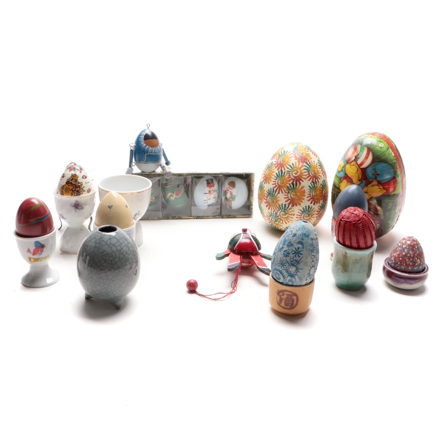 Egg Candy Container with Other Decorative Eggs and Egg Cups, Mid-Late 20th C.