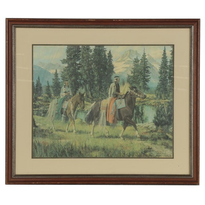 Roger Cooke Offset Lithograph of Native Americans on Horseback