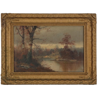 Winter Landscape Oil Painting, Early to Mid 20th Century