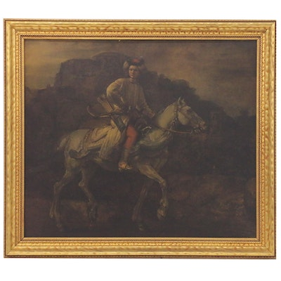 """Collotype after Rembrandt """"The Polish Rider,"""" Mid-20th Century"""